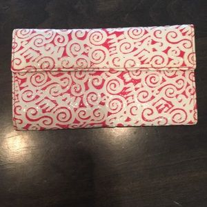 pink and white wallet